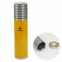 COHIBA Yellow Aluminium Alloy Cigar Jar Tube Humidor W/ Humidifier Hygrometer