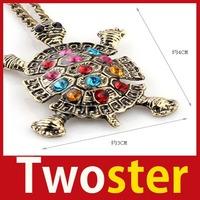 [TwoSter] New Retro Multi-Color Rhinestone Cute Turtle Pendant Necklace Sweater Chain High Quality