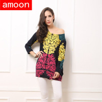 Amoon / Women Autumn Winter Casual Cashmere Print Leaves Dress /C Series 05/Free Shipping /Plus Size /2 Colors /Full Sleeve