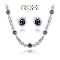 ROXI Christmas Gift Crystal Vintage Set Girlfriend 100% Man-made Fashion Gold Jewelry Blue Luxury Earrings+Necklace