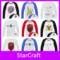 Free Shipping!2013 New Fashion Game StarCraft High Quality 100% Cotton Full Long Sleeve Men T-Shirt StarCraft II Tops Tees