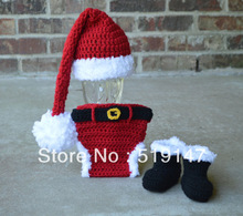 Free shipping Santa Claus style baby hat and shorts and shoses handmade crochet photography props newborn baby cap(China (Mainland))
