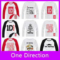 Free Shipping!2013 New Fashion One Direction High Quality 100% Cotton Full Long Sleeve Men T-Shirt One Direction Tops Tees