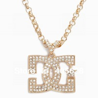 Hip Hop fashion chain crystal  pendant necklace, gold color