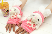 2013 Winter Glove Half finger  lovely animal glove warmer candy color free shipping XM7571