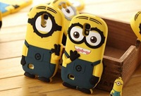 50PC/Lot DHL Free Despicable Me 3D Cartoon  Minion Soft Silicon Back Case For Samsung Galaxy S4 S3 Galaxy Note 3 Note 2 Case
