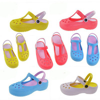 Female print lady's summer clogs beach sandals slimming slippers for women's flat EVA removable garden breathable hole shoes