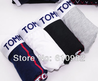 4 pcs/lot Mix Order Mens Underwear / cotton underwear / Best quality brands Boxer Shorts Mix-color Black Gray White Navy