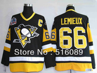 Cheap Pittsburgh Penguins 66 Marrio Lemieux 1991 Black men's ice hockey jerseys