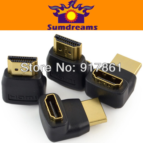 4PCS/lot 90 Degree Angle HDMI Cable Extend Adapter Converter Male to Female M-F HD 1080P Free shipping(China (Mainland))