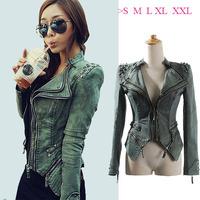 New 2014 Vintage Plus Size Green Denim Rivets Jacket Female Denim Coat Jeans Jacket Women  Motorcycle Outerwear  Sexy Coat