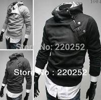 Men's clothing zipper hooded fleece Black Coat,High collar Hoodies Jacket Men's Hoodies zipper design Add villi hooded jacket