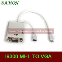 1pcs micro usb 11pin to VGA cable mhl adapter for s3 i9300 to monitor projector mhl to vga with audio note2 n7100 free shipping