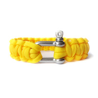 550 paracord cord bracelet shackle / survival /desert camouflage/Custom color/3 hole adjustable steel buckle /yellow