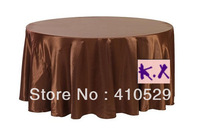 "Free shipping/335CM Round table cloths/Satin table cloth//Chocolate Wedding tablecloths/132""round"