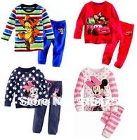 2014 baby Pajamas Kids Pyjamas Baby Girl Minnie Mickey Hello kitty Cartoon Sleepwear Children Wear baby clothing 2-7Y 2pcs/set