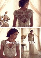 Free Shipping!!2014 New Design  Gorgeous Sheer V Neck Off Shoulder Anna Campbell Gossamer Collection Chiffon Wedding Dress