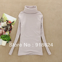 2013 Fashion autumn and winter lady slim bottoming long sleeve turtlenck warm plus velvet shirt 10 colors