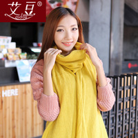 Yarn scarf female autumn and winter thickening male knitted muffler scarf solid color ultra long cape dual
