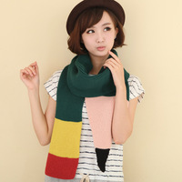 Personalized knitted color block color block decoration autumn and winter female muffler scarf set yarn scarf