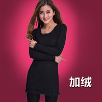 Plus velvet basic shirt 2013 plus size mm winter clothing thickening lace long-sleeve t-shirt basic shirt 1151