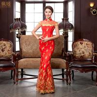 2013 autumn wedding dress formal dress the bride cheongsam married long design sleeveless evening dress autumn and winter fish
