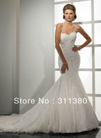Free Shipping Hot-sale Cheap appliques Sleeveless happyshop2828  sweetheart silky organza mermaid Wedding Dress/wedding gowns
