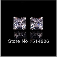 Min. is 10$ 6MM High Quality Woman Men Chic Stud Earring White Gold Plated Stud Earrings Jewelry With CZ Austrian Free Shipping
