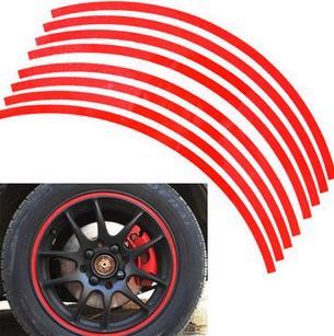 "Top quality 16 Strips 14-18"" Wheel Reflective Car Motorcycle Rim Sticker,WHEEL Rim Stripe Decal sticker 50pcs(China (Mainland))"