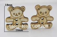 W056 Fashion Wooden Buttons 18mm*16mm Craft Bear Button 200pcs Garment Button