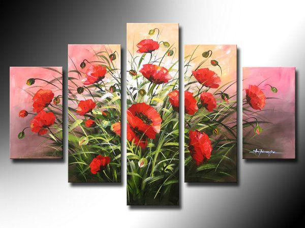 De alta qualidade papoilas vermelhas rosa Oil fundo da pintura parede arte sala de estar decoração pictures 5 pçs/set com estrutura em madeira(China (Mainland))