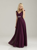 Wonderful A-line V-neck Capped Sleeves Wide Straps Beaded Chiffon Floor-length Bridesmaid Dresses BD239