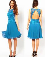 2014 new fashion women party backless  long dress,sleeveless o-neck racerback pleated  slim waist lace one-piece dress