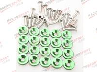 20 PC Green BILLET ALUMINUM FENDER/BUMPER WASHER/BOLT ENGINE BAY DRESS UP KIT
