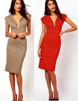 Fashion autumn and winter ladies sleeveless V-neck slim hip sexy high waist medium-long one-piece dress free dhipping