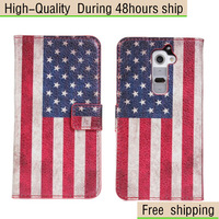 New National flag Style Leather Wallet Credit Card Case For LG Optimus G2 D802 Free Shipping UPS DHLEMS HKPAM CPAM