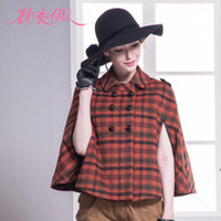 Winter 2013 new stylish temperament English London style double breasted Plaid Cape coat