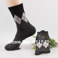 (L&C)cotton winter warm man socks Lace, dot  men sock , wool sock (10pcs=5pairs) /lot, mix color  socks  fit 39-44 size13-85-8