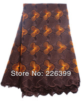 Coffee+Orange african swiss voile cotton lace with stone,hand cut embroidery lace fabric for party/wedding,5 yards TKL8878