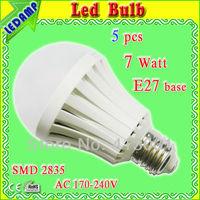 Plastic shell 2835 smd led bubble ball bulb ac 220v warm white /cool white Lampada Led 7w Bulbo Bivolt E27