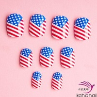 48pcs full nail art patch Women ladies fashion USA National flag Striped False Nail Artificial Nail Patch Office Lady Party