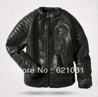 New 2014 HOT! Children's Winter Jacket  Boys Leather Jacket Kids Cotton Padded  Warm Winter Coat Outwear  2T-14T Boys Coat