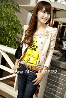 2013 outerwear women's pocket slim design short puff sleeve female blazer