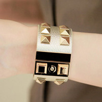 2014 accessories metal rivet leather wide bracelet meters gold black