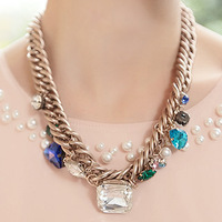 2014 accessories sparkling Ornaments gem short necklace