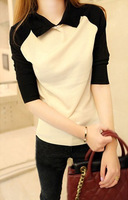 Autumn slim color block decoration small lapel soft basic sweater female sweater pullover top