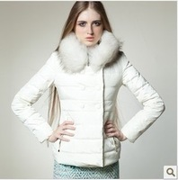 Ultralarge  raccoon fur double breasted short design down coat female