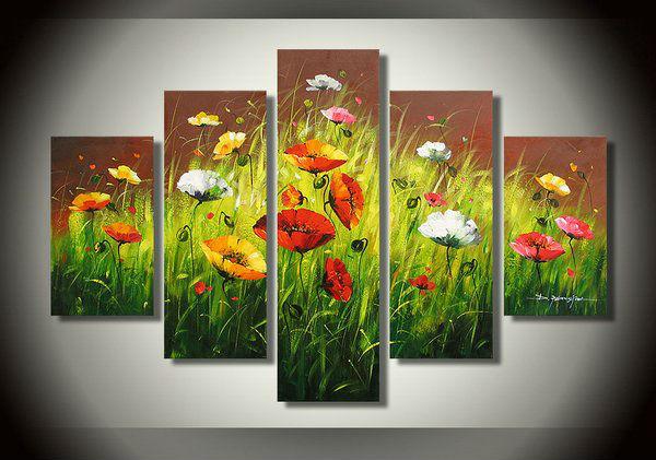 100% pintado à mão pintura a óleo de papoula flor alta qualidade decoração de arte da parede hot grátis frete sala decoração fotos(China (Mainland))