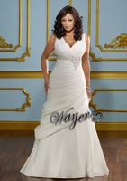 HL-PWD2098 Top Online A-line V-neck Sleeveless Lace Appliques Beaded Ruched Satin Plus Size Wedding Dress Custom Made