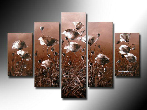 Grátis frete poppy flores Pure pintados à mão pinturas a óleo h-qualidade arte 5 pçs/set decoração sala de estar fotos(China (Mainland))